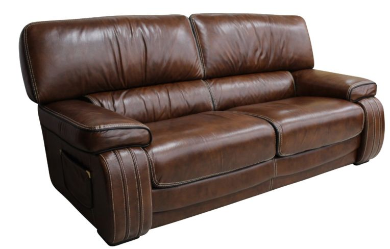 Livorno 3 Seater Genuine Italian Tabak Brown Leather Sofa Settee Offer