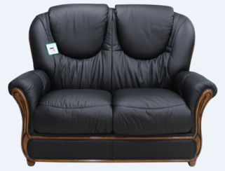 Juliet Genuine Italian Leather 2 Seater Sofa Settee Black