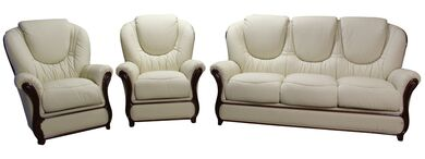 Juliet 3+1+1 Genuine Italian Cream Leather Sofa Suite Offer