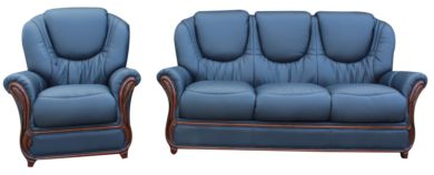 Juliet 3 Seater + Armchair Genuine Italian Navy Blue Leather Sofa Suite Offer