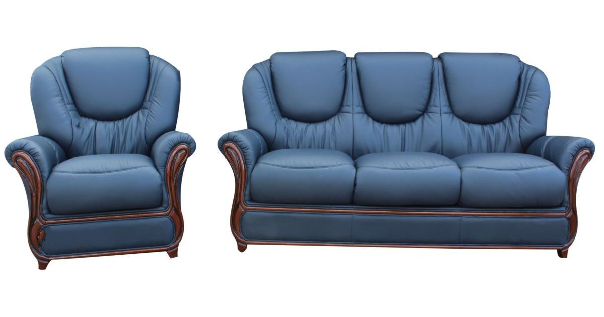 Mississippi 3 Seater Armchair Genuine Italian Navy Blue