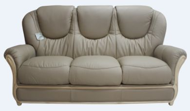 Juliet Genuine Italian Leather 3 Seater Sofa Settee Coffee Milk