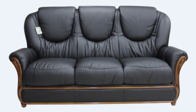 Juliet Genuine Italian Leather 3 Seater Sofa Settee Black