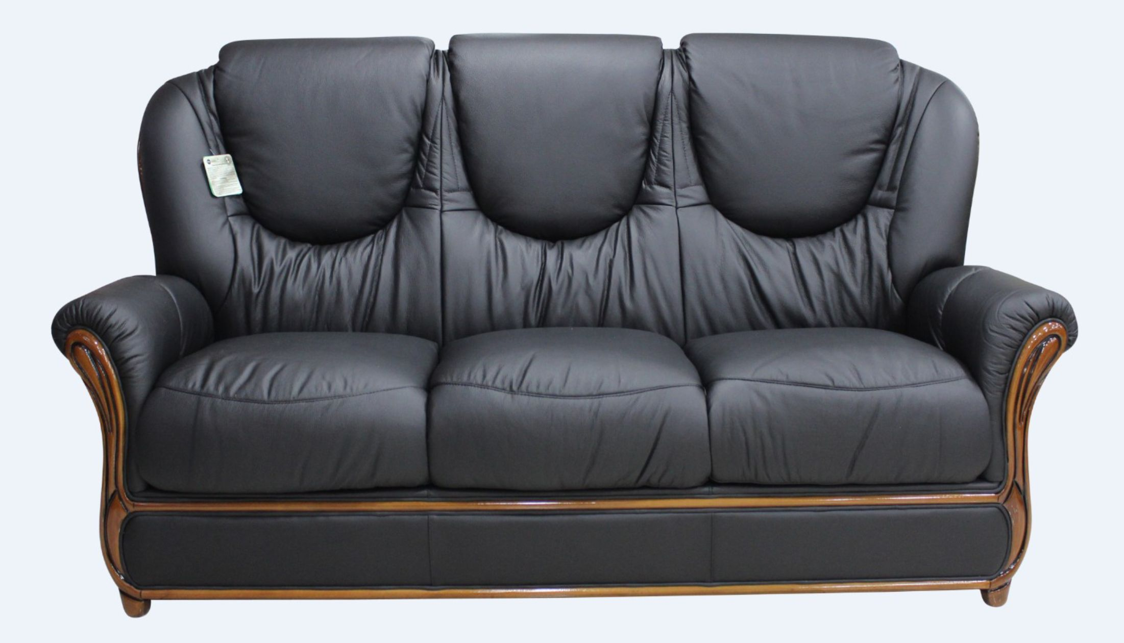 Juliet genuine italian leather 3 seater sofa settee black Italian leather sofa uk