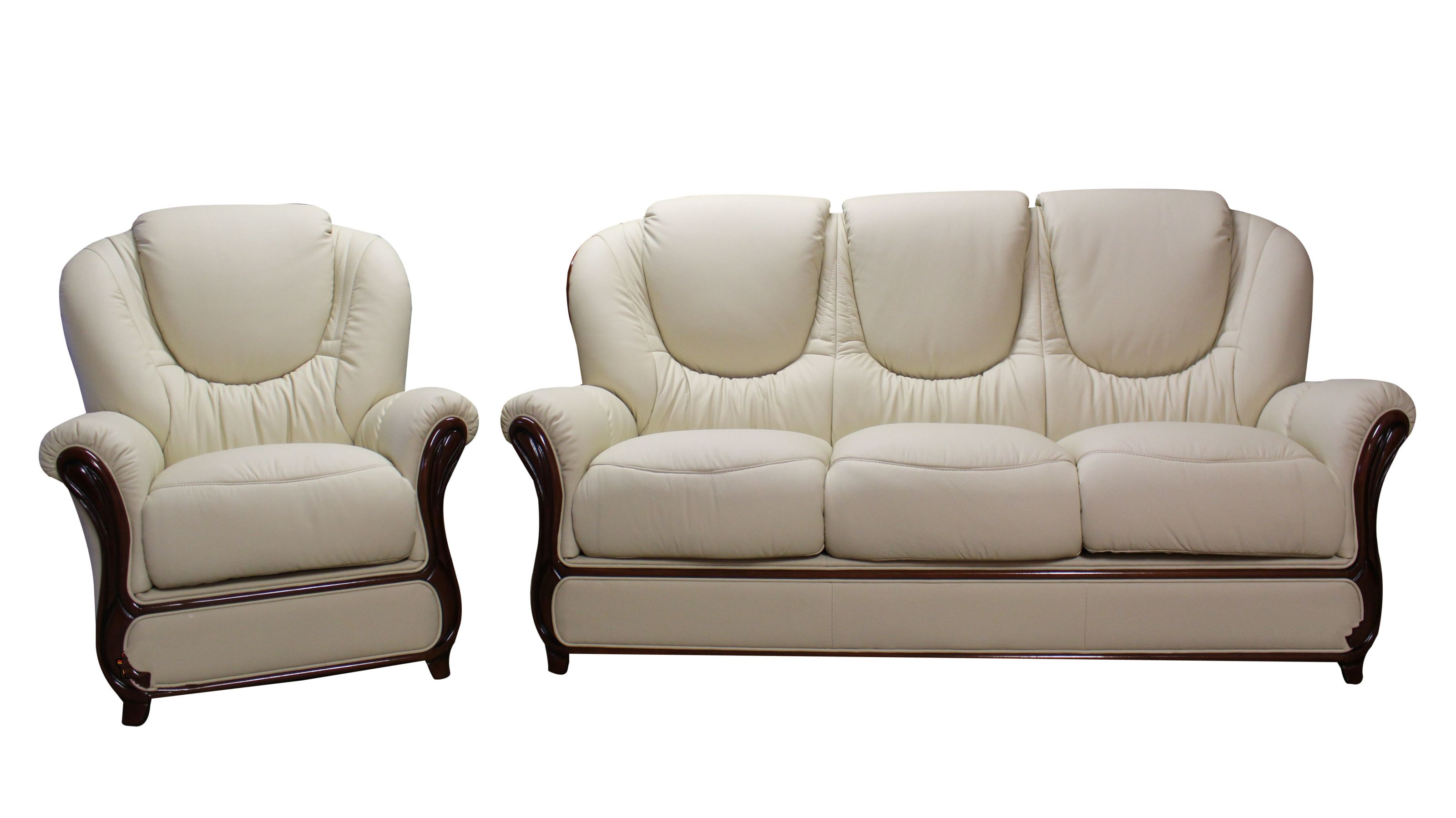 - Juliet 3 Seater + Armchair Genuine Italian Cream Leather Sofa Suite