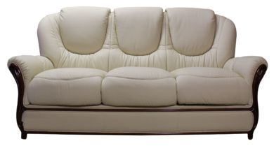 Juliet Genuine Italian Leather 3 Seater Sofa Settee Cream
