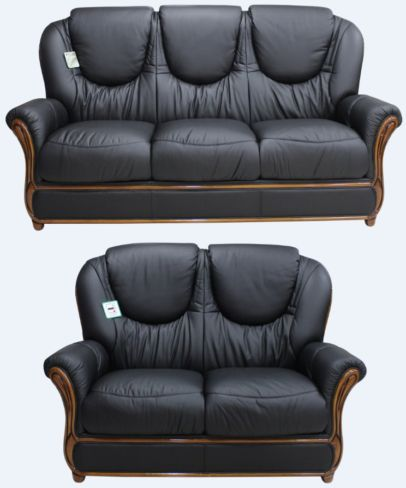 Juliet Genuine Italian Leather 3+2 Seater Sofa Suite Black