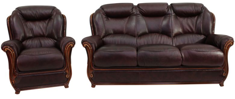 Bari 3+1 Genuine Italian Burgandy Leather Sofa Suite Offer