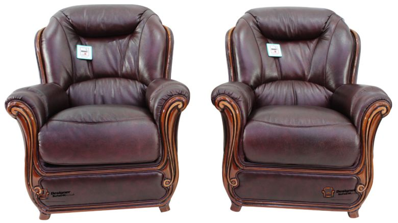 2 x Bari Armchairs Sofa Genuine Italian Burgandy Leather Offer