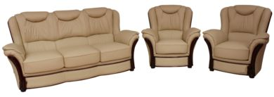 Verona 3+1+1 Genuine Italian Cream Leather Sofa Suite Offer
