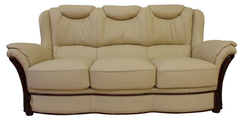Verona 3 Seater Sofa Settee Genuine Italian Cream Leather Offer