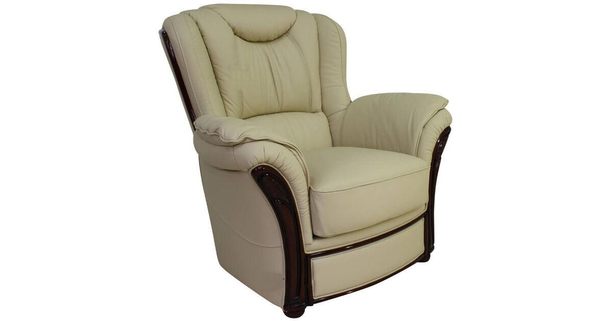 Verona Genuine Italian Sofa Armchair Cream Leather ...