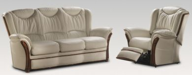 Laura 3+1 Electric Reclining Genuine Italian Cream Leather Sofa Suite Offer
