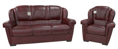 Lazio 3+1 Genuine Italian Leather Sofa Suite Burgandy