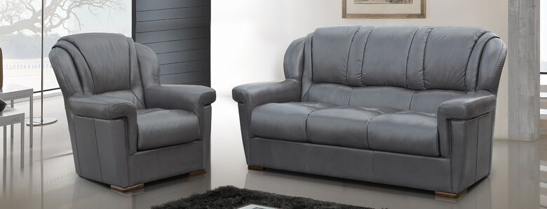 Lazio 3+1+1 Genuine Italian Leather Sofa Suite Dark Grey