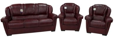 Lazio 3+1+1 Genuine Italian Leather Sofa Suite Burgandy