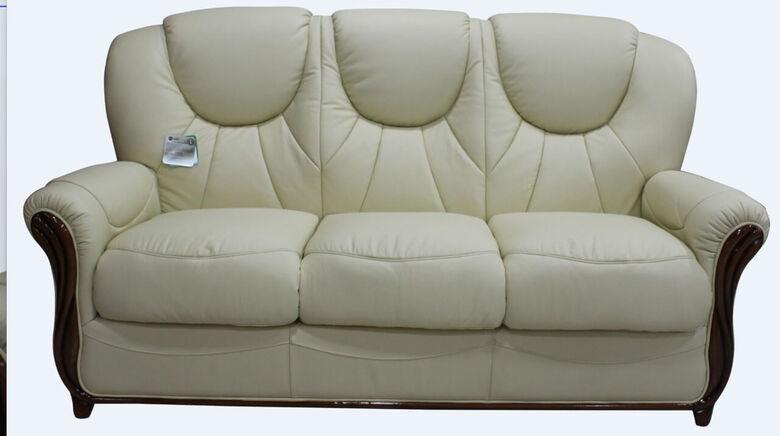 Lucca Genuine Italian Leather 3 Seater Sofa Settee Cream