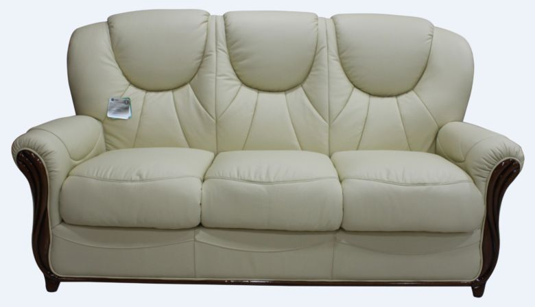 Lucca Genuine Italian Leather 3 Seater Sofa Settee Cream
