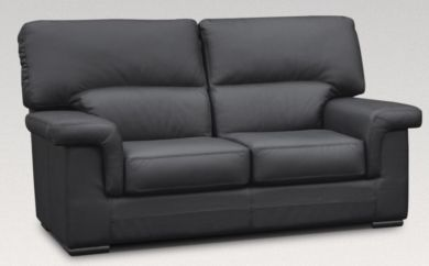 Orleans 2 Seater Italian Leather Black Sofa Settee