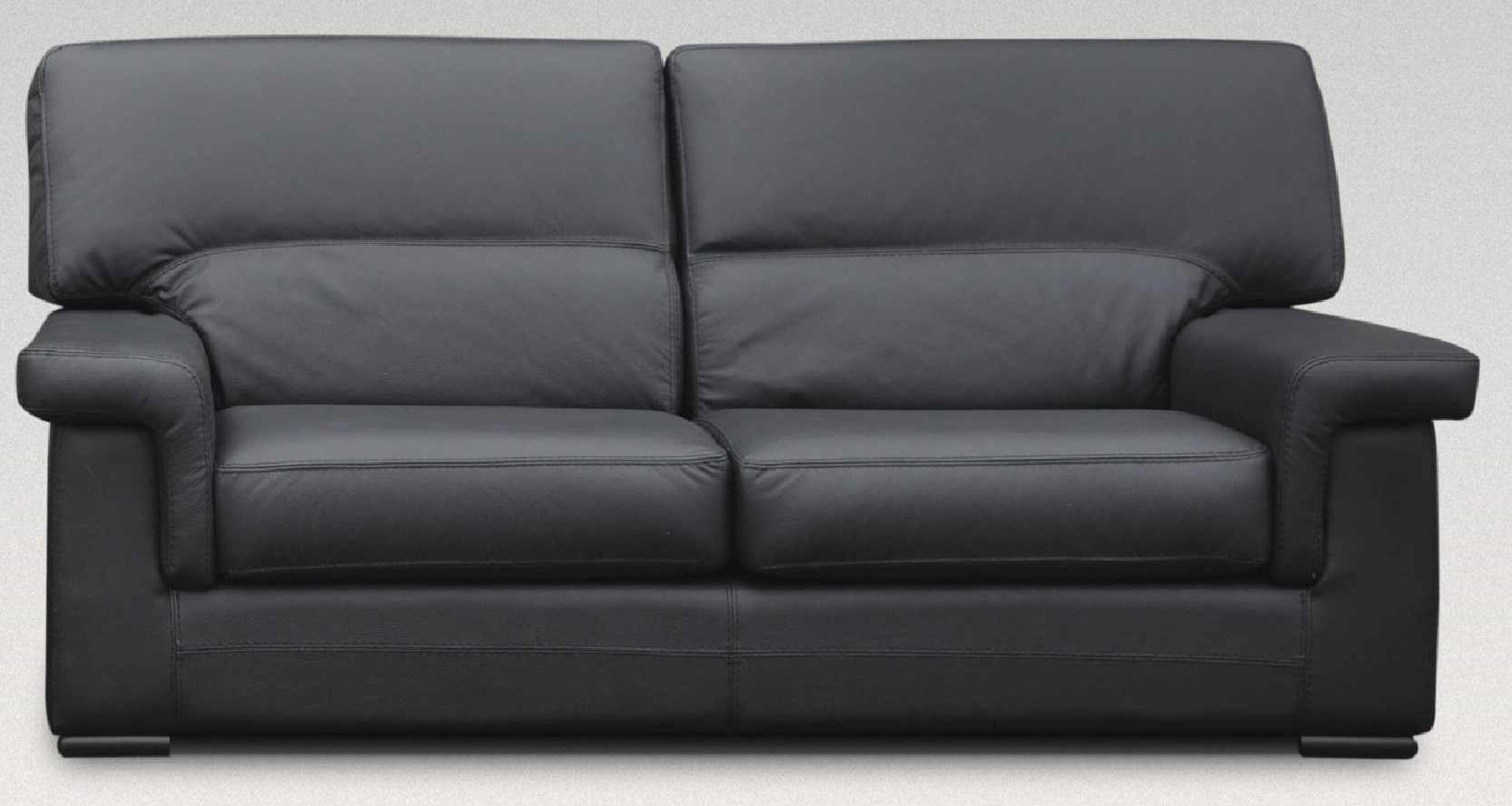 Orleans 3 Seater Italian Leather Black Sofa Settee