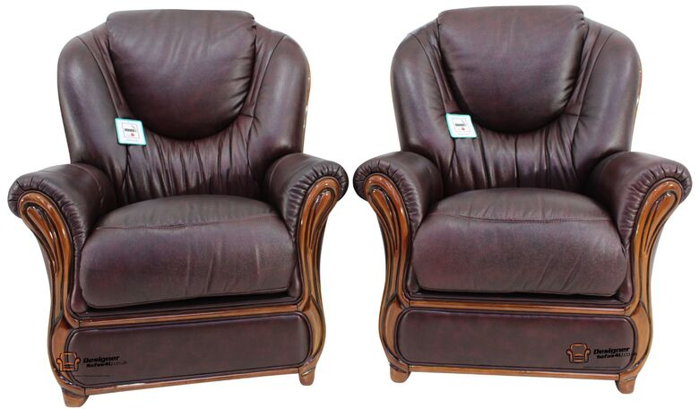 2 x Mississippi Genuine Italian Sofa Armchairs Burgandy Leather