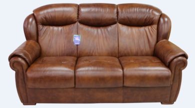 Palermo Genuine Italian Leather 3 Seater Sofa Settee Tabak Brown