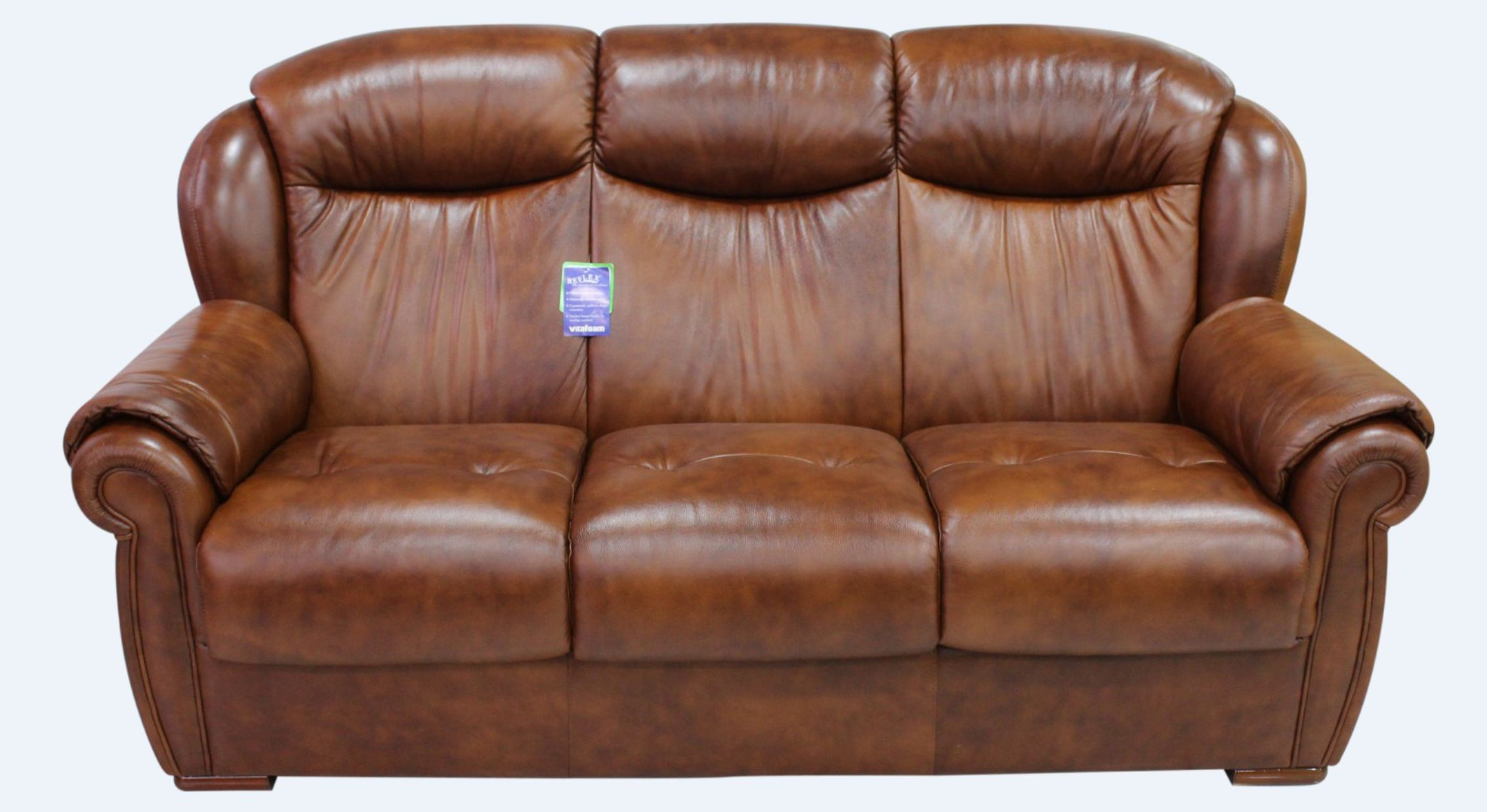 Palermo Genuine Italian Leather 3 Seater Sofa Settee Tabak