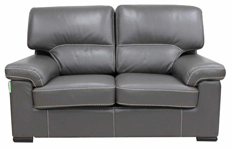 Patrick Contemporary 2 Seater Sofa Grey Italian Leather