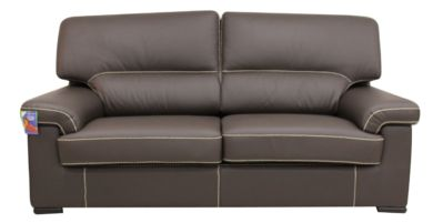 Patrick Contemporary 3 Seater Sofa Chocolate Brown Italian Leather