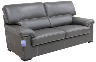 Patrick Contemporary 3 Seater Sofa Grey Italian Leather