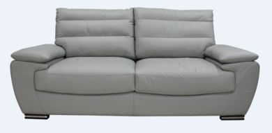 Pavia Genuine Italian Leather 3 Seater Sofa Settee Light Grey