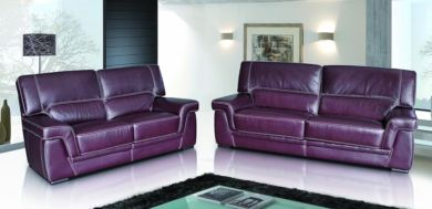 Perugia 3+2 Contemporary Italian Leather Sofa Suite Burgandy