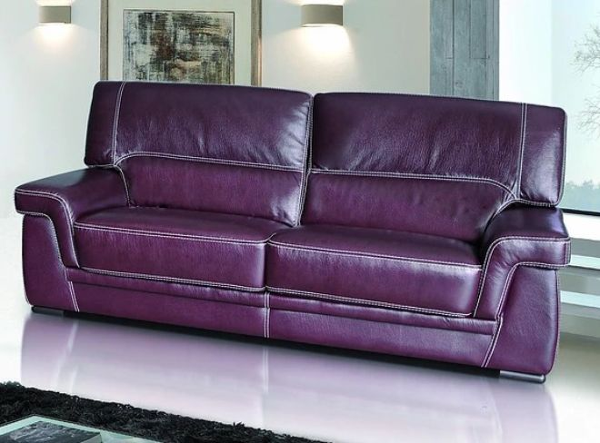 Perugia 3 Seater Contemporary Italian Leather Sofa Burgandy