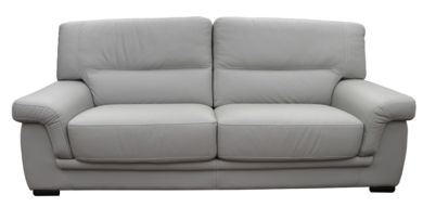 Perugia 3 Seater Contemporary Italian Leather Sofa Light Grey
