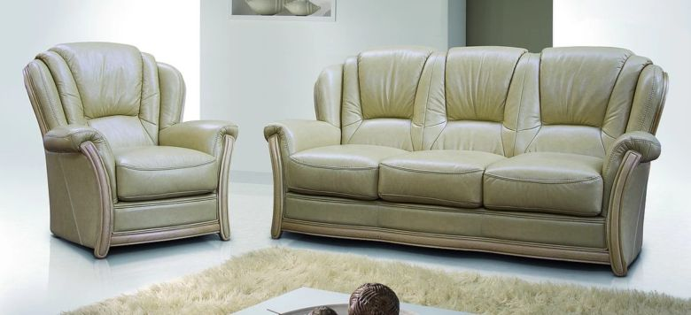 Pisa 3 Seater + Armchair + Armchair Italian Leather Sofa Settee Offer Nut