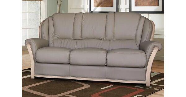 Reggio 3 Seater Italian Leather Sofa Light Grey
