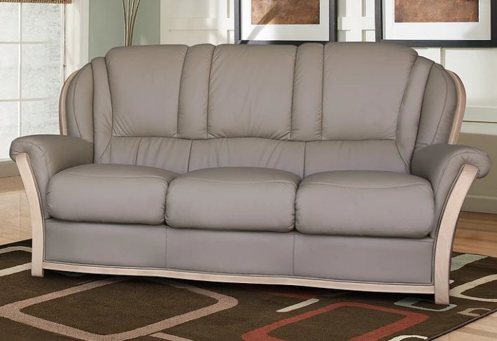 Reggio 3 Seater Italian Leather Sofa Light Grey