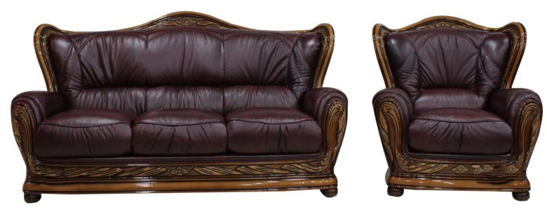 Regina 3+1 Genuine Italian Burgandy Leather Sofa Settee offer