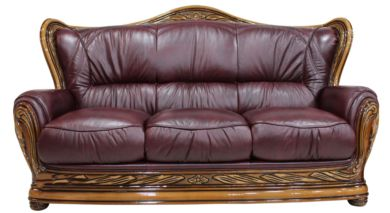 Regina 3 Seater Genuine Italian Burgandy Leather Sofa Settee offer