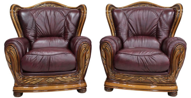 2 x Regina Genuine Italian Leather Burgandy Armchairs Offer