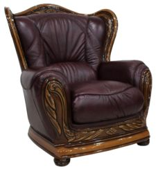 Regina Genuine Italian Leather Burgandy Armchair Offer