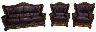 Regina 3+1+1 Genuine Italian Burgandy Leather Sofa Settee offer