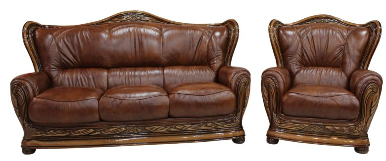 Regina 3+1 Genuine Italian Tabak Brown Leather Sofa Settee offer