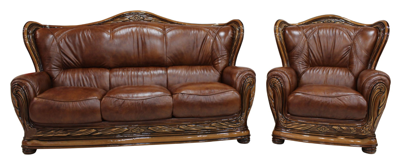 Regina 3 1 Genuine Italian Tabak Brown Leather Sofa Settee
