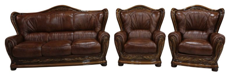 Regina 3+1+1 Genuine Italian Tabak Brown Leather Sofa Settee offer