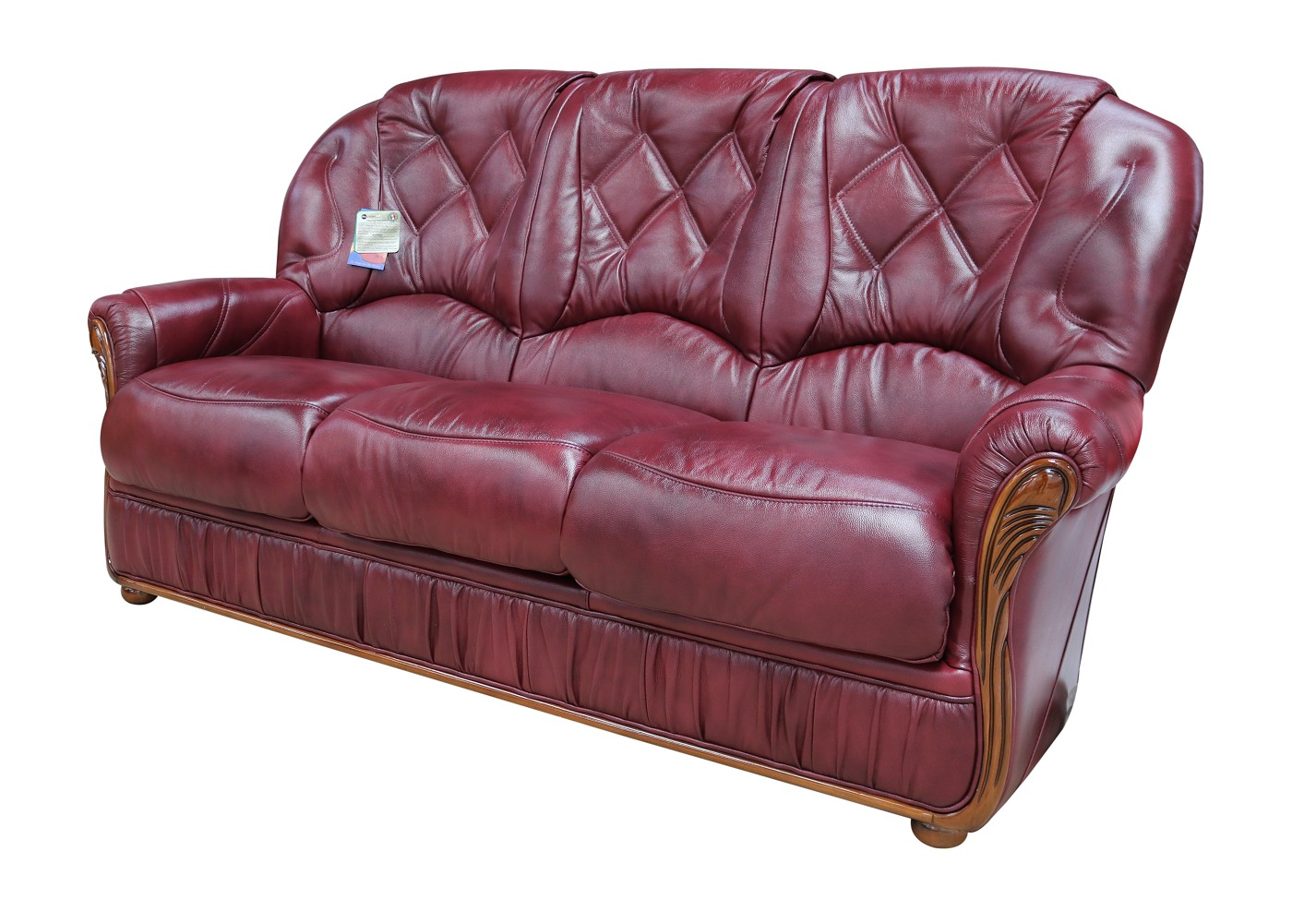 Tremendous Rome Genuine Italian Leather 3 Seater Sofa Settee Burgundy Machost Co Dining Chair Design Ideas Machostcouk
