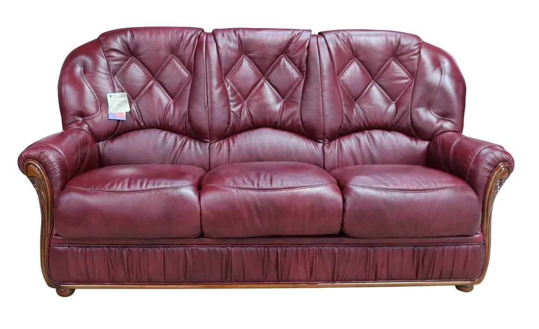 - Rome Genuine Italian Leather 3 Seater Sofa Settee Burgundy