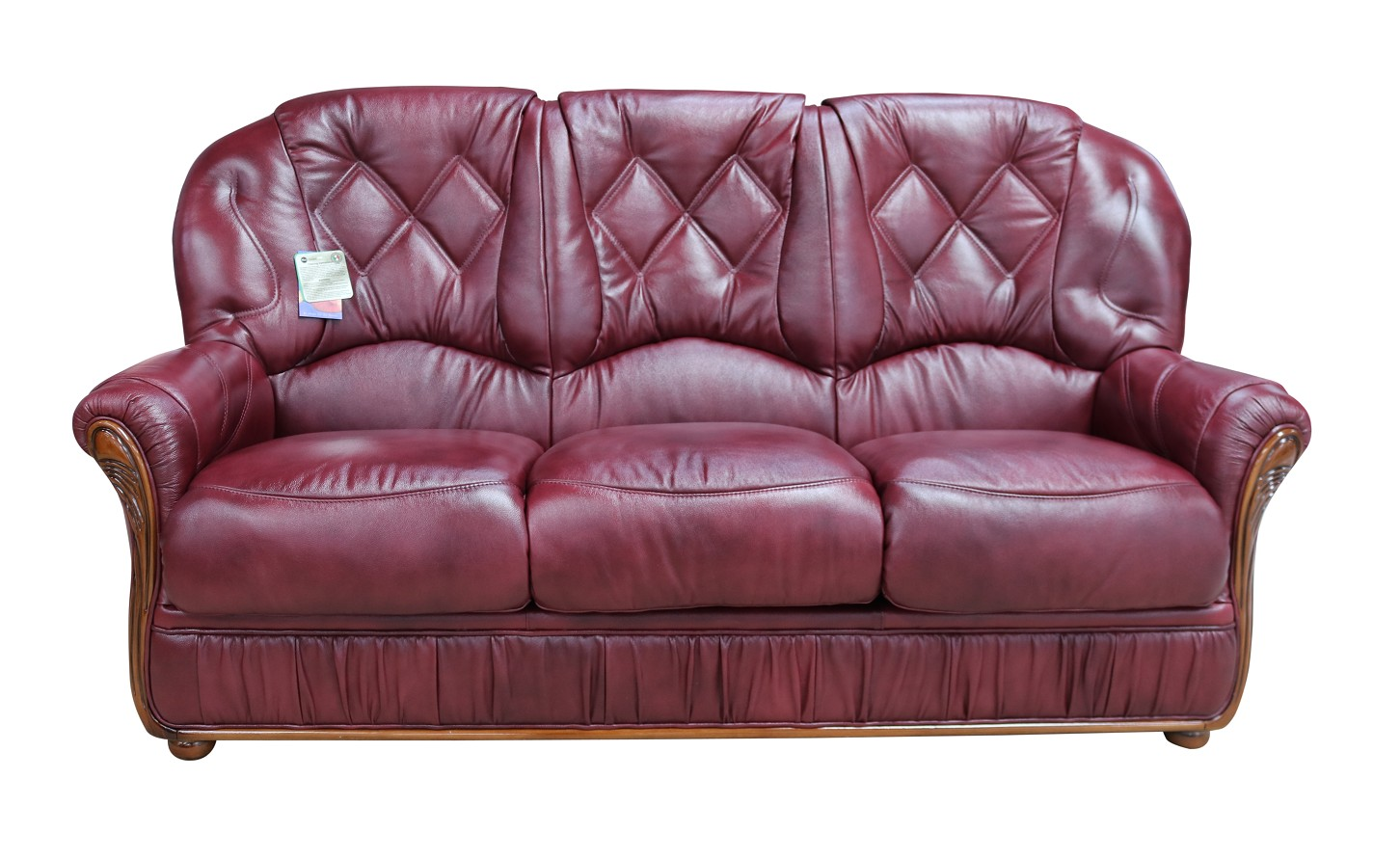 Astounding Rome Genuine Italian Leather 3 Seater Sofa Settee Burgundy Machost Co Dining Chair Design Ideas Machostcouk