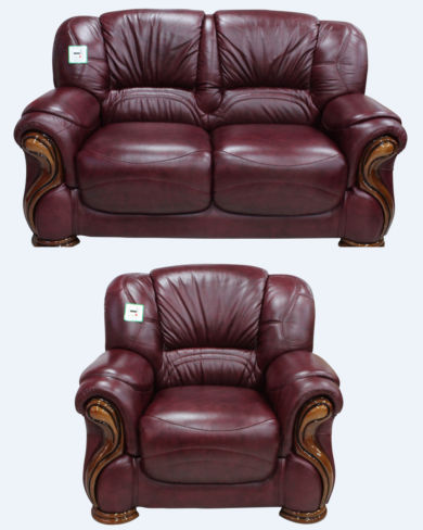Susanna 2+1 Italian Leather Sofa Suite Burgandy Offer