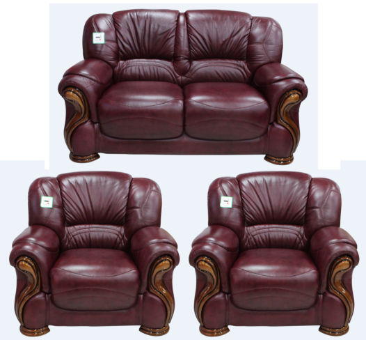 Susanna 2+1+1 Italian Leather Sofa Suite Burgandy Offer